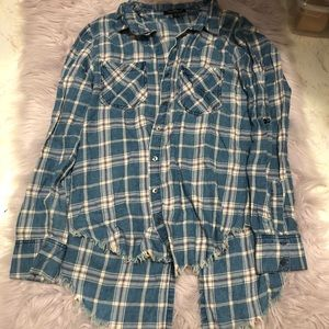 Tops - Blue Plaid High-Low Flannel